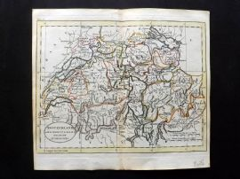 Guthrie 1788 Antique Hand Col Map. Switzerland with its Subjects & Allies